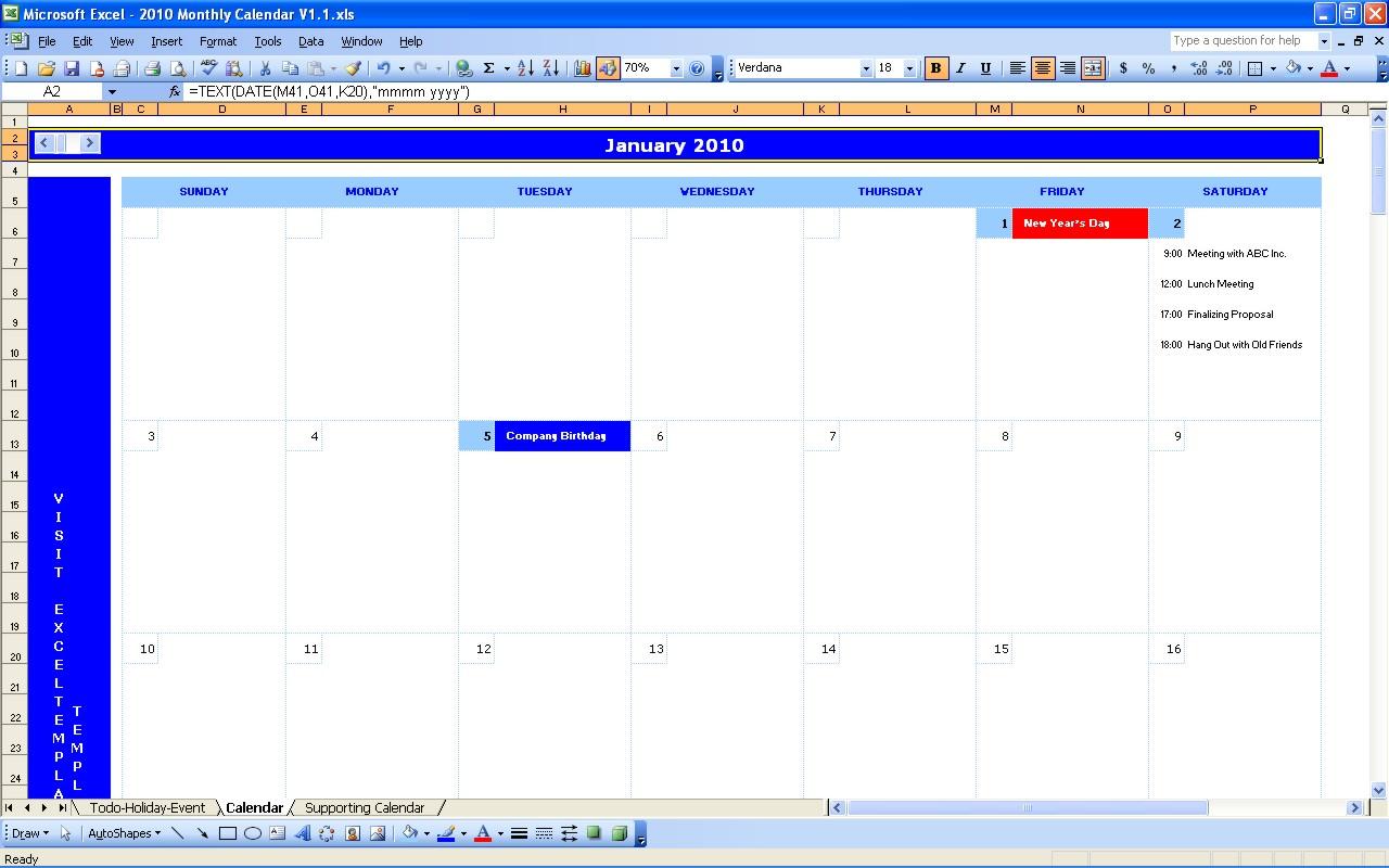 create calendar in excel