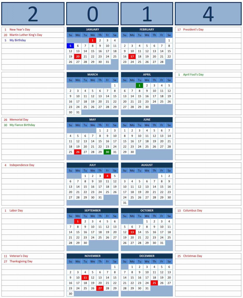 2014 Calendar with Side Note 834x1024 2014 Calendar
