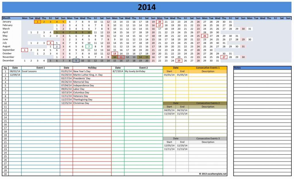 2014 Linear Calendar 1024x624 2014 Calendar
