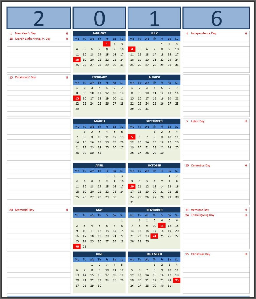 Excelcalendars 2016 Calendar with Notes 877x1024 2016 Calendars