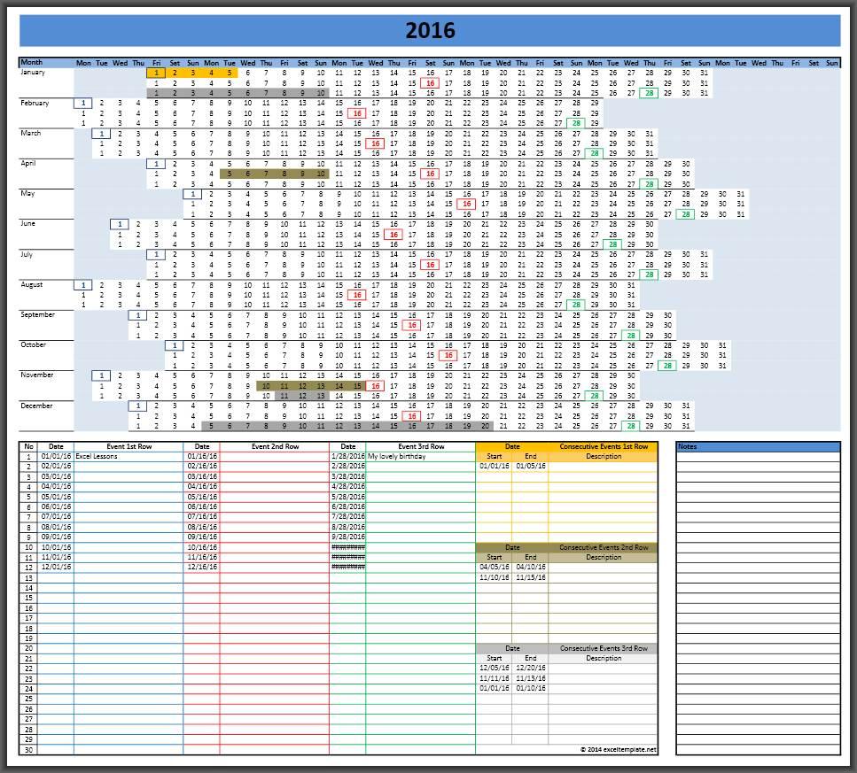 2016 Linear Calendar Template