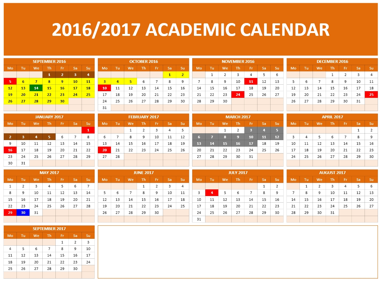 School Calendar 2016 : School calendars excel