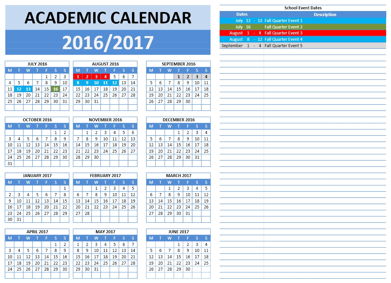 2016/2017 School Calendars | Excel Calendars