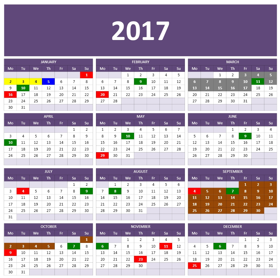 Calendar 1 : One Page Calendar with Months only