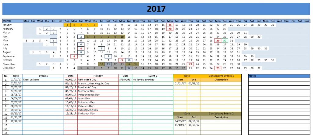 2017 Calendar Model 3 - Linear
