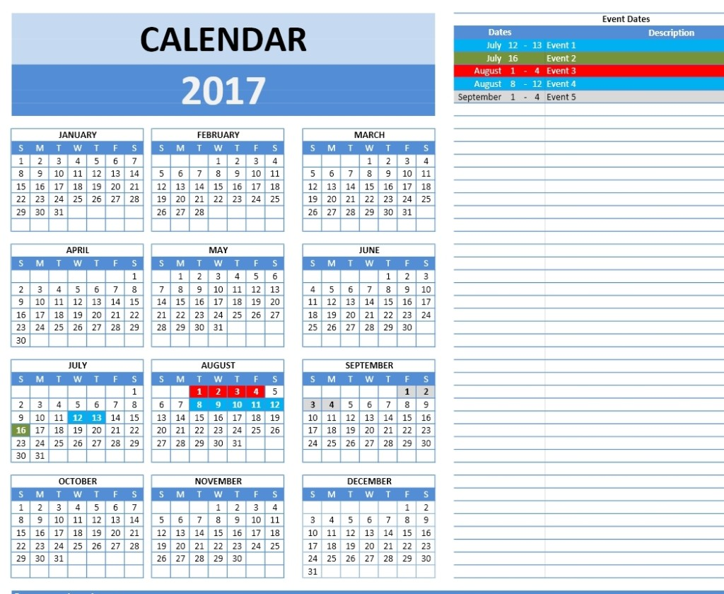 2017 Calendar Model 5