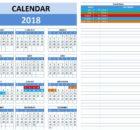 2018 Excel Calendar Template Model 5