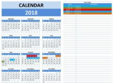 free excel calendar templates 2018
