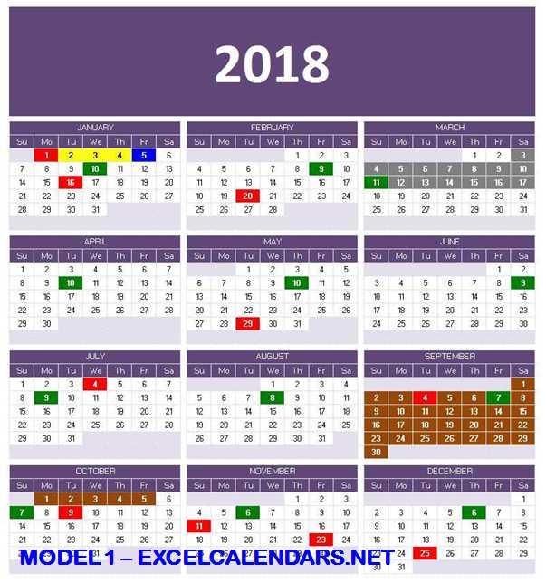 Model 1 - 2018 Excel Calendar Template