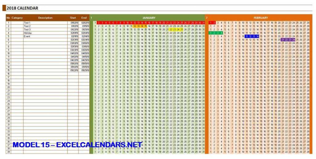 Model 15 - 2018 Excel Calendar Template