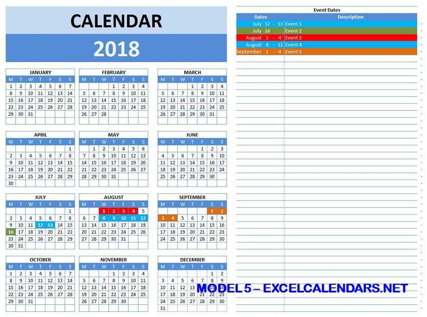 Model 5 - 2018 Excel Calendar Template