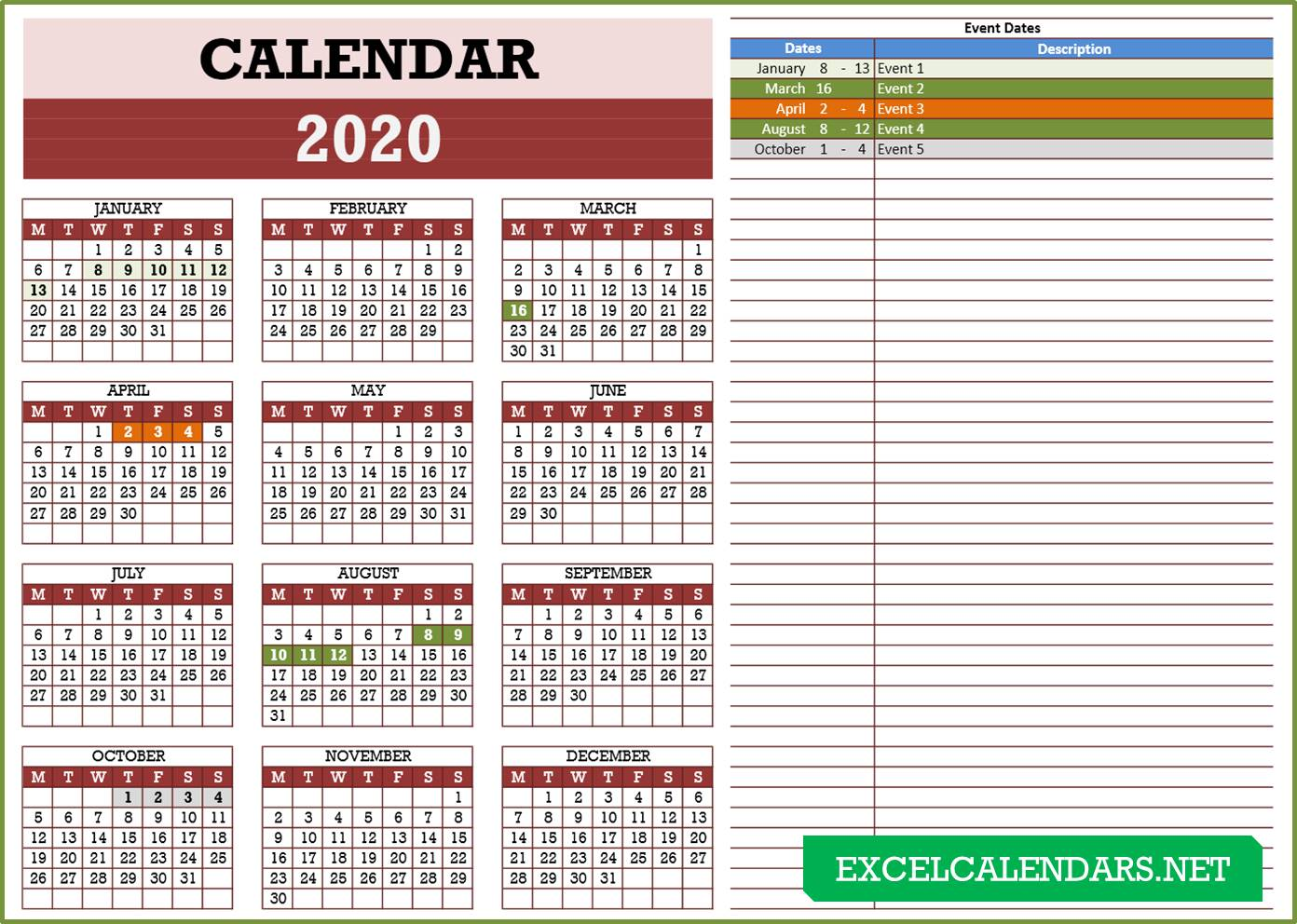 2020 Calendar Template Excel: Yearly Calendar Templates For Year 2019