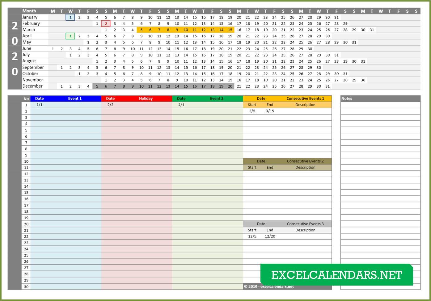 2019 Linear Calendar