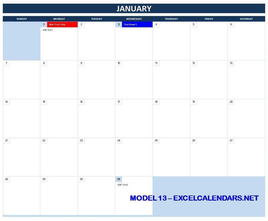 Model 13 - 2018 Excel Calendar Template