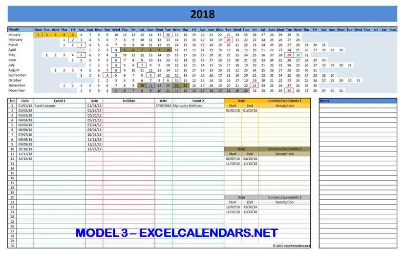 Model 3 - 2018 Excel Calendar Template