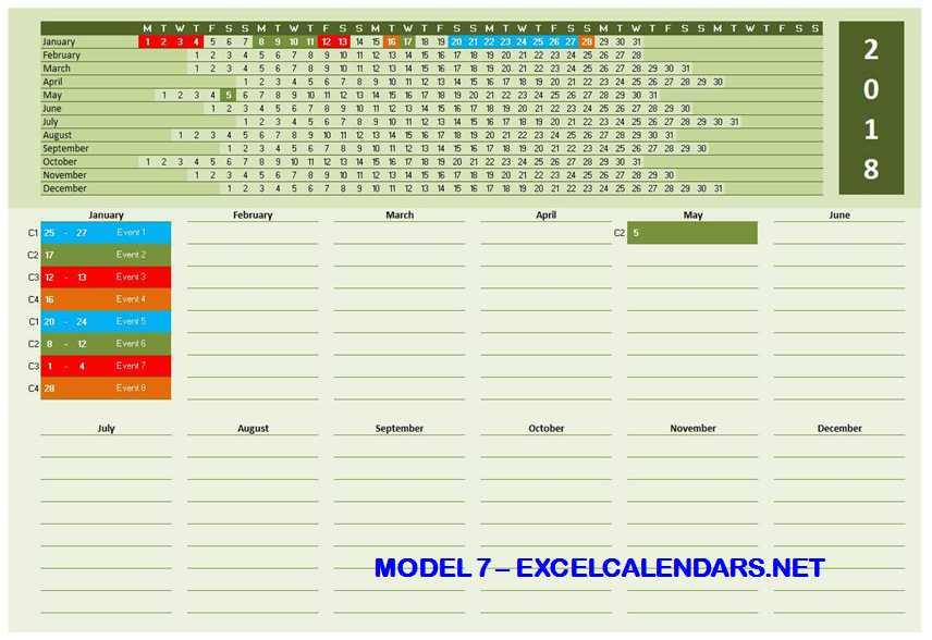 Model 7 - 2018 Excel Calendar Template