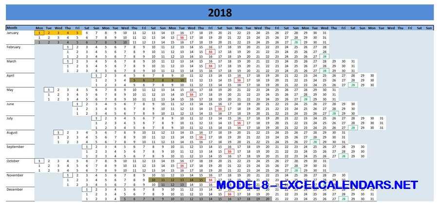 Model 8 - 2018 Excel Calendar Template
