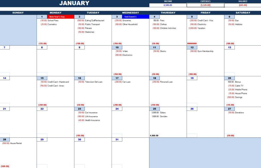 Monthly Cash Flow Planner - Excel