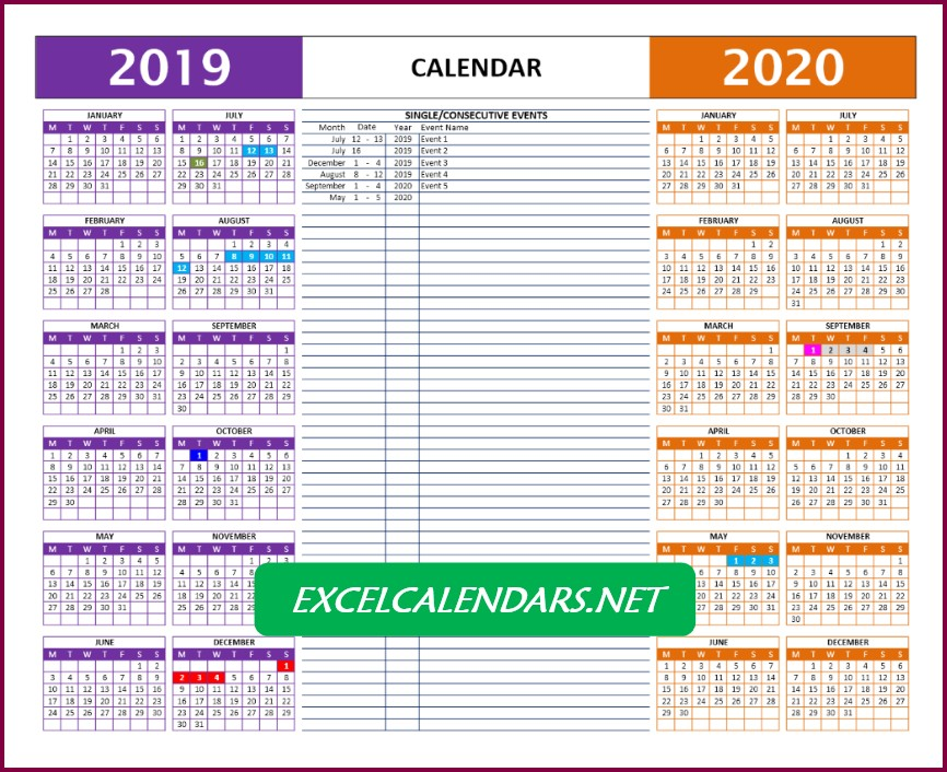 Excel Calendar Templates - Two Yearly