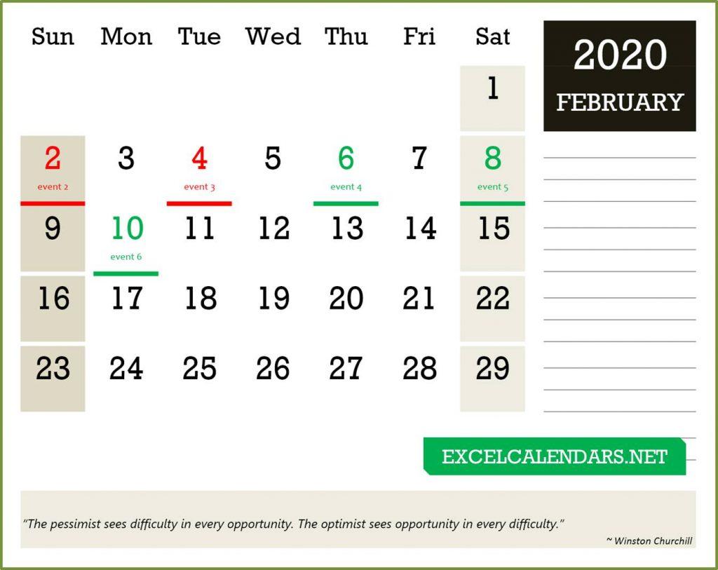 Monthly calendar - excel calendar template
